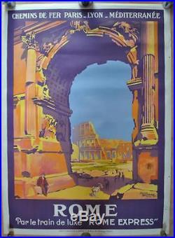 Affiche PLM Originale ROME par le train de luxe ROME Express Roger Broders 1921