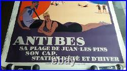 Affiche PLM Roger Broders Antibes 1928 original poster