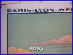 Affiche PLM lac d'Annecy chemin de fer 1926 entoilée originale