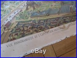 Affiche Panorama Exposition Universelle 1889 Paris Tour Eiffel Lithographie