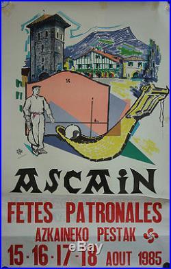 Affiche Pays Basque Ascain fêtes patronales 1985 Pelote Basque Azkaineko Pestak