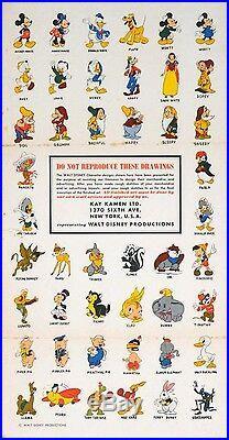 Affiche Personnages Walt Disney 1948 Rare