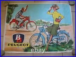 Affiche Peugeot BB mobylette vélomoteur des années 1960 de 107,3 cm x 80 cm