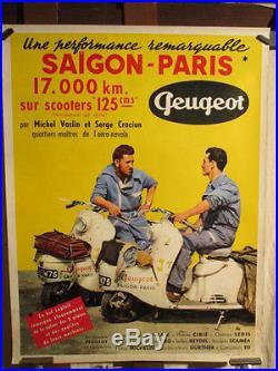 Affiche Peugeot Scooters Rallye Saigon Paris Rare