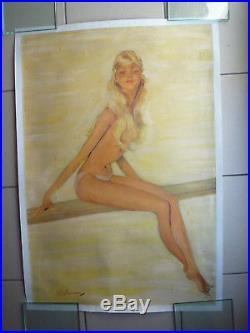 Affiche Pin up de Jean Gabriel Domergue circa 1960 entoilée