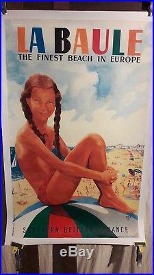 Affiche Plage La Baule Jeune Fille Sur Ballon Rare