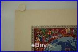 Affiche Planisphère AIR FRANCE DECOUVREZ LE MONDE 1952 BOUCHER Imp Perceval