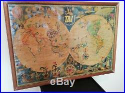 Affiche Planisphère de Luc marie Bayle transports aérien intercontinentaux TAI