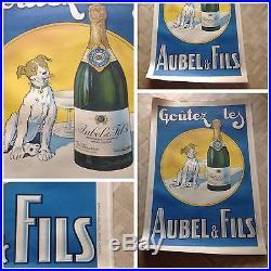 Affiche Poster Aubel Et Fils Champagne Vins Wine Chien Dog 1925 Gaillard Bottle
