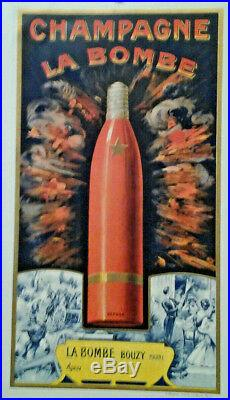 Affiche Pub Ancienne Champagne La Bombe Bouzy Marne
