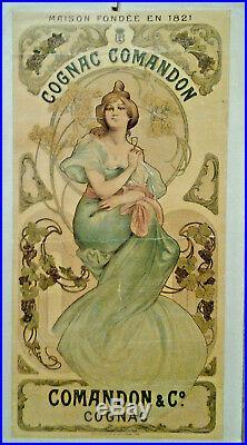 Affiche Pub Ancienne Cognac Comandon Imprimerie Champenois Paris Art Nouveau