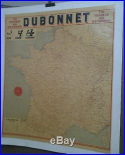 Affiche Pub Ancienne Dubo Dubon Dubonnet Carte De France Cassandre Vin Tonique