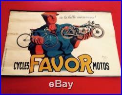 Affiche Pub CYCLES FAVOR MOTOS signe Bellenger 1937 En T B E