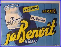 Affiche Pub J. A Benoit (yaourt) Au Citron, A La Vanille, Au Cafe 1954