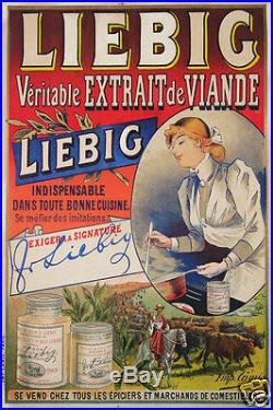 Affiche Publicitaire Ancienne Liebig Veritable Extrait De Viande Circa 1900