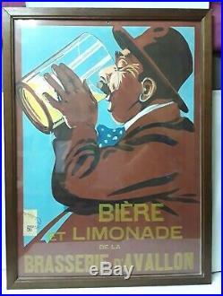 Affiche Publicité Rare Bière Et Limonade De La Brasserie D'avallon (timbrée)