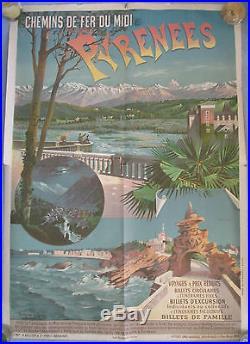 Affiche Pyrénées Chemin de Fer du Midi Imprimerie Bellier, Atelier H d'Alesi