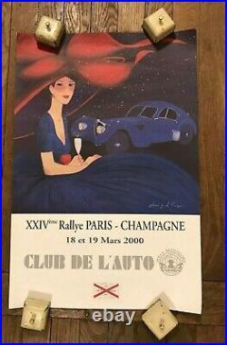 Affiche Rallye Paris Champagne 2000CLUB DE L'AUTO Champagne Castellane