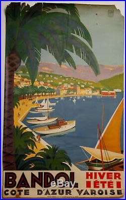 Affiche Roger Broders Bandol Cote D Azur Varoise Lucien Serre Cie Plm Z220