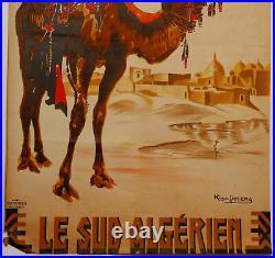 Affiche Roger Irriera Algiers 8 1937 Le Sud Algerien Cfa Baconnier Alger Z222