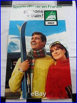 Affiche SNCF SPORTS D HIVER EN FRANCE 1968