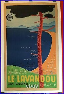 Affiche SNCF cote d'Azur Lavandou îles du levant originale entoilée 1938 rare