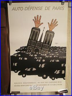 Affiche Savignac Auto Defense De Paris