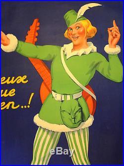Affiche Sirop Monin Bourges 1934 signée et entoillée 130x 200