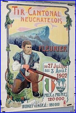 Affiche Suisse François Jaques Tir Cantonal Neuchatelois Fleurier 1902