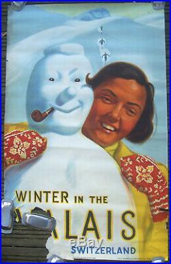 Affiche Suisse Montagne Ski Winter In The Valais Switzerland Hermes C 1938