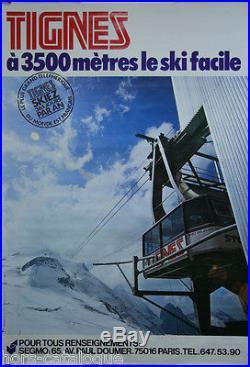 Affiche, Tignes, à 3500 mètres ski facile. Circa 1975. Sport hiver, téléphérique