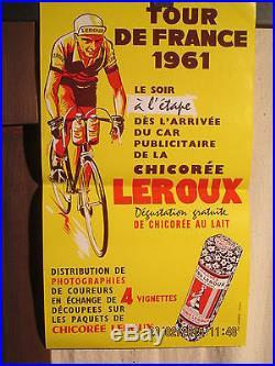 Affiche Tour De France Cycliste Leroux Chicoree