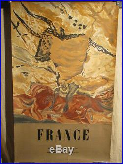Affiche Tourisme Grottes De Lascaux Dordogne Litho 1955