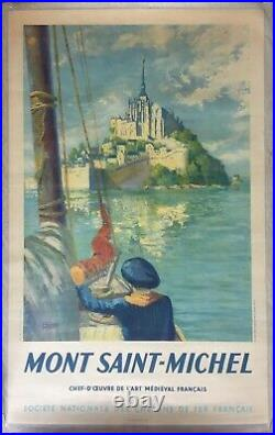 Affiche Tourisme MONT SAINT-MICHEL Bateau Voilier SNCF Marin STARR 62x100cm 1947