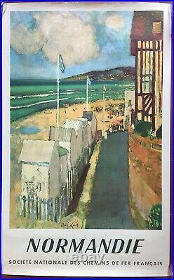 Affiche Tourisme NORMANDIE Train SNCF Deauville RENE GENIS 62x100cm 1961