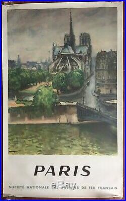 Affiche Tourisme PARIS Train SNCF Notre Dame de Paris MARQUET 62x100cm 1950