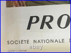 Affiche Tourisme PROVENCE Train SNCF Chemins de Fer PLANSON 62x100cm 1957