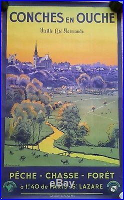 Affiche Touristique Conches En Ouche- Normandie-chemins De Fer De L'état-1936