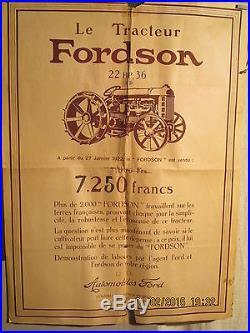 Affiche Tracteur Fordson Bordeaux Rare