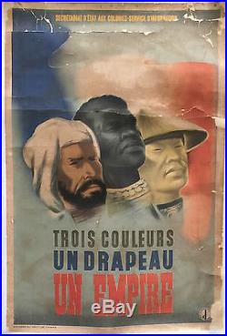 Affiche Trois Couleurs, Un Drapeau, Un Empire, Éric Castel, 1942 secret. Armées