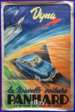 Affiche VOITURE PANHARD Avion Fusée DYNA Automobile JEAN BLANCHOT 80x120cm 50's