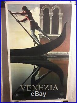 Affiche Venise Cassandre 1961 Gondolier Deco Superbe