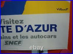 Affiche Villemot Cote d'Azur SNCF 1968 originale