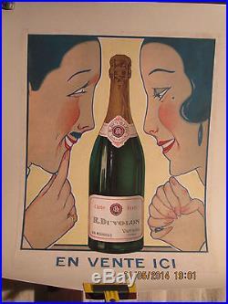 Affiche Vin Couple Art Deco