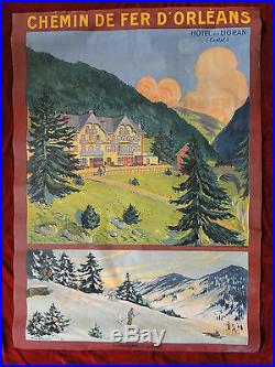 Affiche Vintage Poster Naurac Hôtel du Lioran Cantal Ski Chemin de Fer d'Orléans