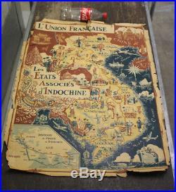 Affiche ancienne 1953 L'union ancienne états associés INDOCHINE Lucien Logé