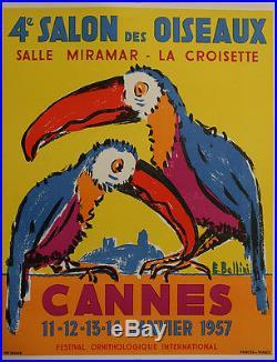 Affiche ancienne 4eme salon des oiseaux Cannes Croisette Bellini toucans