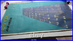 Affiche ancienne AIR INDIA NEW YORK original poster