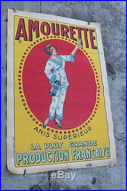 Affiche ancienne AMOURETTE anis absinthe vintage poster