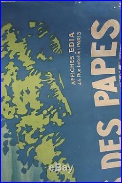 Affiche ancienne AVIGNON LE PALAIS DES PAPES 1922 94 x 72 cm